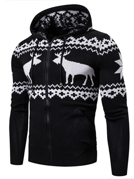 Christmas Hooded Standard Slim Mens Sweater