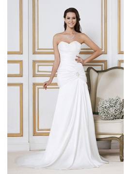 Elegant Strapless Sweetheart Ruched Beaded Mermaid Wedding Dress