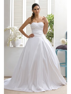 Simple Style Strapless A Line Appliques Sweep Talines Wedding Dress