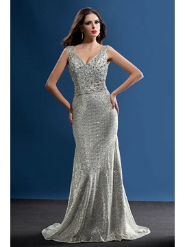 Straps Sequins Beading Mermaid Long Evening Dress