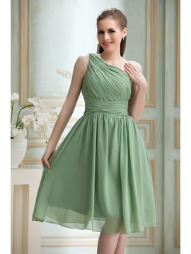 Fabulous Pleats A Line One Shoulder Knee Length Nadyas Bridesmaid Dress