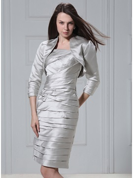 3 4 Sleeve Silvery Jacket With Smooth Edging
