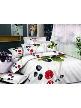 White 4 Piece Printed Bedding Sets With Fruit And Greenery