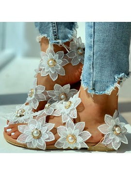 Strappy Peep Toe Slip On Appliques Sandals