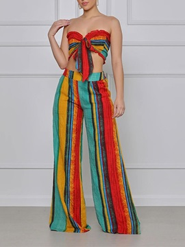 Color Block Print Fashion Straight Off Shoulder Womens Two Piece Sets