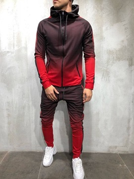 Lace Up Casual Gradient Jacket Spring Mens Outfit
