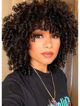 African American Womens Medium Curly Human Hair Capless Wigs With Bangs 16inch