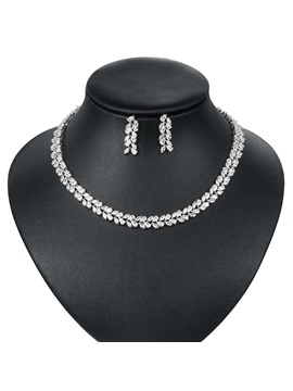 Floral Korean Necklace Wedding Jewelry Sets