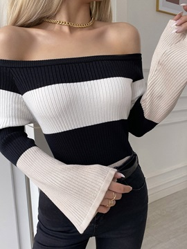 Print Fall Off Shoulder Womens Sweater
