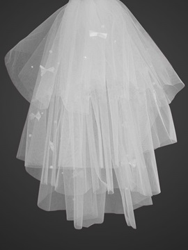 Cute Blusher Wedding Veil With Cut Edge