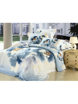 Modern Chinese Ink And Wash Printed Blue 4 Piece Bedding Sets