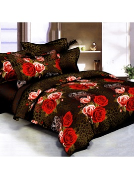 Rose Blossoming Printed 4 Pieces Top Grade Comforter Bedding Set