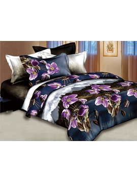 Hillcrest Scenic And Pink Flowers Printed 4 Pieces Comforter Quilt Cover