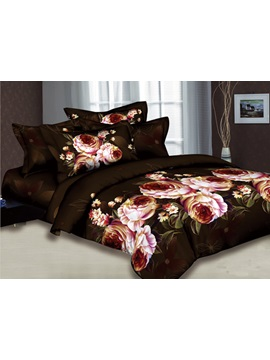 Dark Brown 4 Piece Comforter Bedding Sets With Pink Blossoming Flowers And Leaves