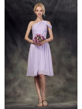 Ruched One Shoulder Knee Length Bridesmaid Dress