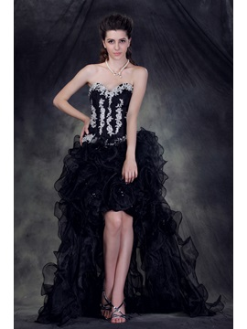Glamorous Sweetheart Asymmetry Appliques Lace Up Anderais Evening Dress