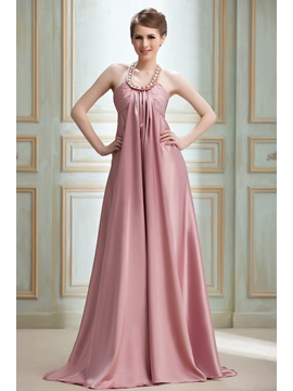 Timeless A Line Halter Beading Court Train Nadyas Long Evening Dress