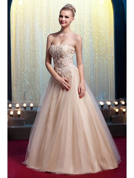 Glamorous Strapless Floor Length Appliques A Line Yanas Prom Quinceanera Dress