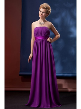 Charming Pleats A Line Strapless Floor Length Alinas Bridesmaid Dress