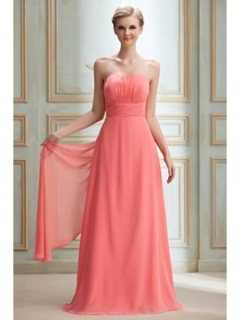 Cheap A Line Sashes Ribbons Strapless Pleats Floor Length Yanas Bridesmaid Dress