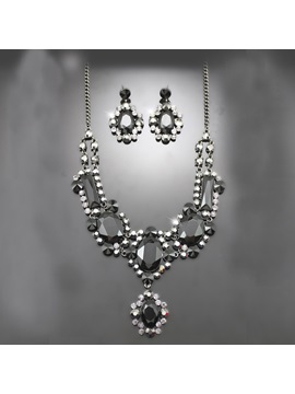 Charming Alloy With Rhinestone Wedding Jewelry Set Including Necklace And Earrings