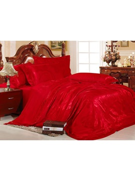 Beaming Red 4 Piece Silk Like Bedding Sets
