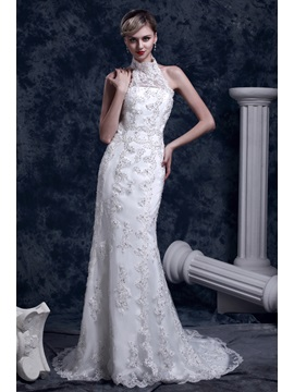Gorgeous Lace Trumpet Mermaid High Neck Chapel Dashas Wedding Dress