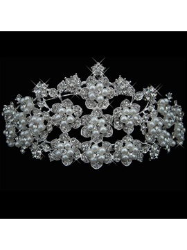 Flower Shaped Pearl With Rhinestone Wedding Tiara