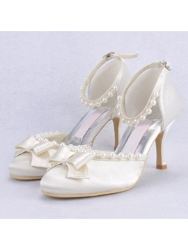 Beading Satin Bowknots Wedding Shoes
