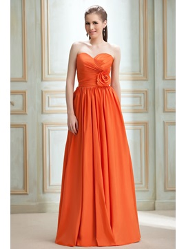 Attractive A Line Flower Empire Waist Sweetheart Floor Length Nadyas Bridesmaid Dress