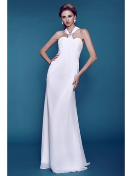 Plain Column Sheath Beaded Dashas Beach Wedding Dress