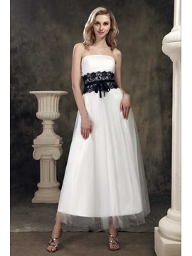 Amazing A Line Strapless Tea Length Lace Trimmed Dashas Wedding Dress