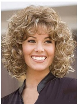 Sexy Medium Curly Mix Color Synthetic Hair Wig 12 Inches