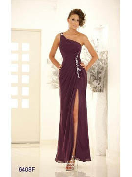 Timeless Column Split Front One Shoulder Appliques Long Evening Dress