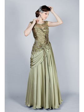 Vintage Scoop Neckline Tassel Beading A Line Floor Length Evening Dress
