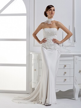 Dramatic Column Strapless Floor Length Court Train Wedding Dress With Jacket Shawl