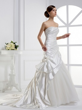 Stunning Mermaid Strapless Tiered Floor Length Chapel Train Wedding Dress
