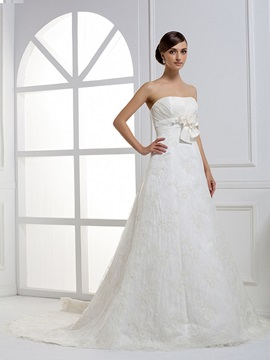 Grand A Line Strapless Floor Length Chapel Train Wedding Dress