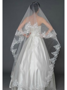 Wedding Trends Cathedral Length White Lace Wedding Veil