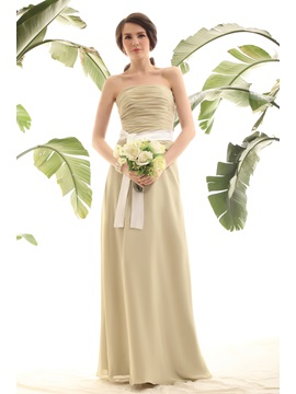 Elegant Sheath Column Pleats Sashes Ribbons Strapless Lubas Bridesmaid Dress
