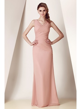 Sheath V Neck Pleats Long Bridesmaid Dress