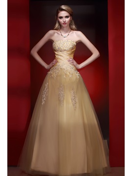 Vintage A Line Strapless Appliques Floor Length Dashas Prom Quinceanera Dress