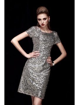 Shining Square Neck Short Sleeves Column Sequines Short Dashas Cocktail Dress