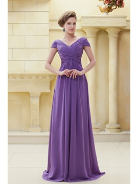 Delicated Pleats Sheath V Neckline Floor Length Elas Mother Of The Bride Dress
