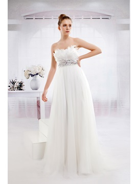 Fabulous Empire Sweetheart Floor Length Tulle Anitas Wedding Dress