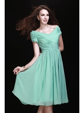 Pretty A Line V Neck Short Sleeve Knee Length Bridesmaid Dress