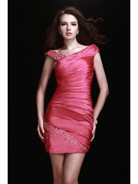 Graceful Sheath Pleats Straps Beading Lubas Mini Cocktail Dress