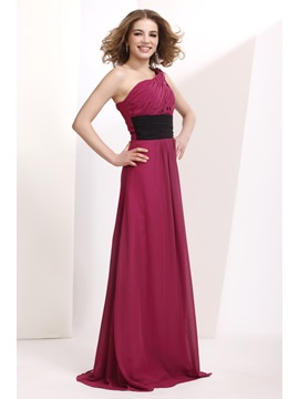 Delicate Empire One Shoulder Floor Length Prom Bridesmaid Dress