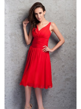 Elegant Ruched V Neck Knee Length Red Bridesmaid Dress