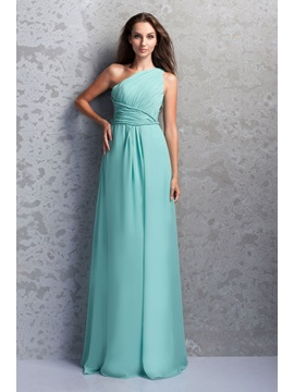 Affordable One Shoulder Ruched A Line Floor Length Miriamas Bridesmaid Dress